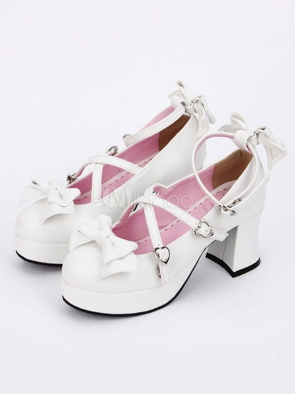f9fedc5d74ff Sweet Lolita Shoes White Bow Cross Front Ankle Strap Chunky Heel Lolita  Pumps  White