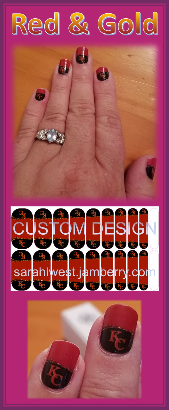"""""""Red & Gold"""" - A Jamberry custom manicure in support of the Kansas City Chiefs Football team!"""