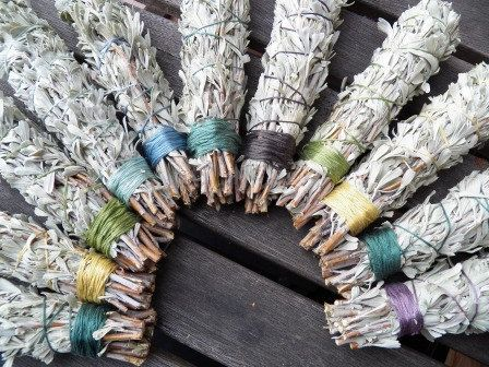 3 Sage Smudge Stick  wedding party favors by LiveInArtJewelry. , via Etsy.