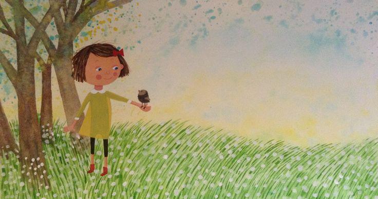 Illustration children book - Elsa har en fågel i handen ( Bonnier Carlsen 2015, pixi , Sweden ) © Anna-Karin Garhamn