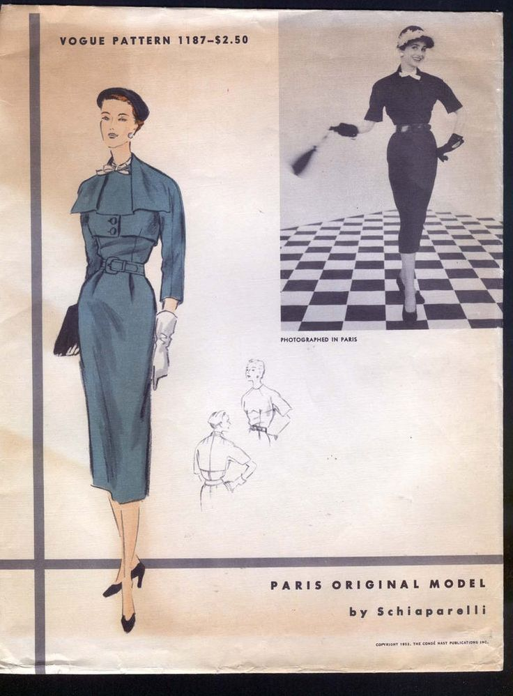 1952 Vogue Pattern -  Ladies' Suit Designed By Schiaparelli sold for usd282 on ebay August 2014