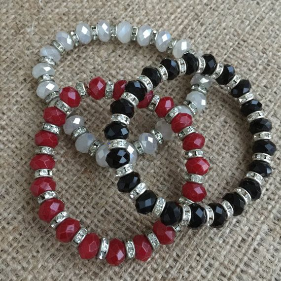 ***HANDMADE*** Beautiful Czech Crystal Bracet Set with crystal materials. I have chosen for this bracelet is high quality Red ,Black and White Czech Crystal Beads Elegant bracelet set for day or night. ** You can buy each one seperately ! Measurements: Elastic Length up to : 19 cm/7,5 inches * Would you LOVE to own this and need a bigger size? How about a different colour Gem Stone /material? Do not hesitate to contact with me. Original design by GFMODE. Beaded by me! I also...