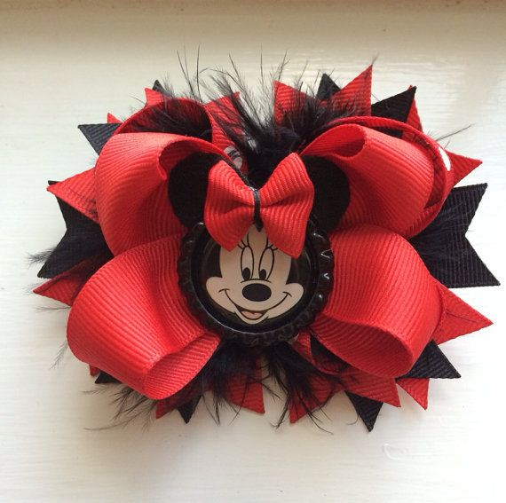 Red and Black Minnie Mouse Hair Bow by TheJMarieBoutique on Etsy, $8.99