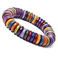 Wear the Rainbow: TAGUA BRACELET    Handmade in Colombia from Tagua nuts, found in South American rain forests, this glossy, candy-colored bracelet will add punch to any outfit. Tagua nuts are popular for use in accessories because they resemble ivory in texture, but do not harm animals. Features 54-56 beads.