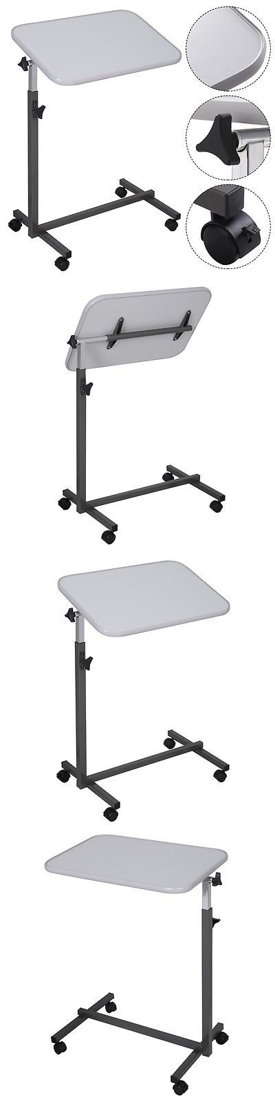 Other Mobility Equipment: Overbed Rolling Table Over Bed Laptop Food Tray Hospital Desk Tilting Top Gary BUY IT NOW ONLY: $32.99