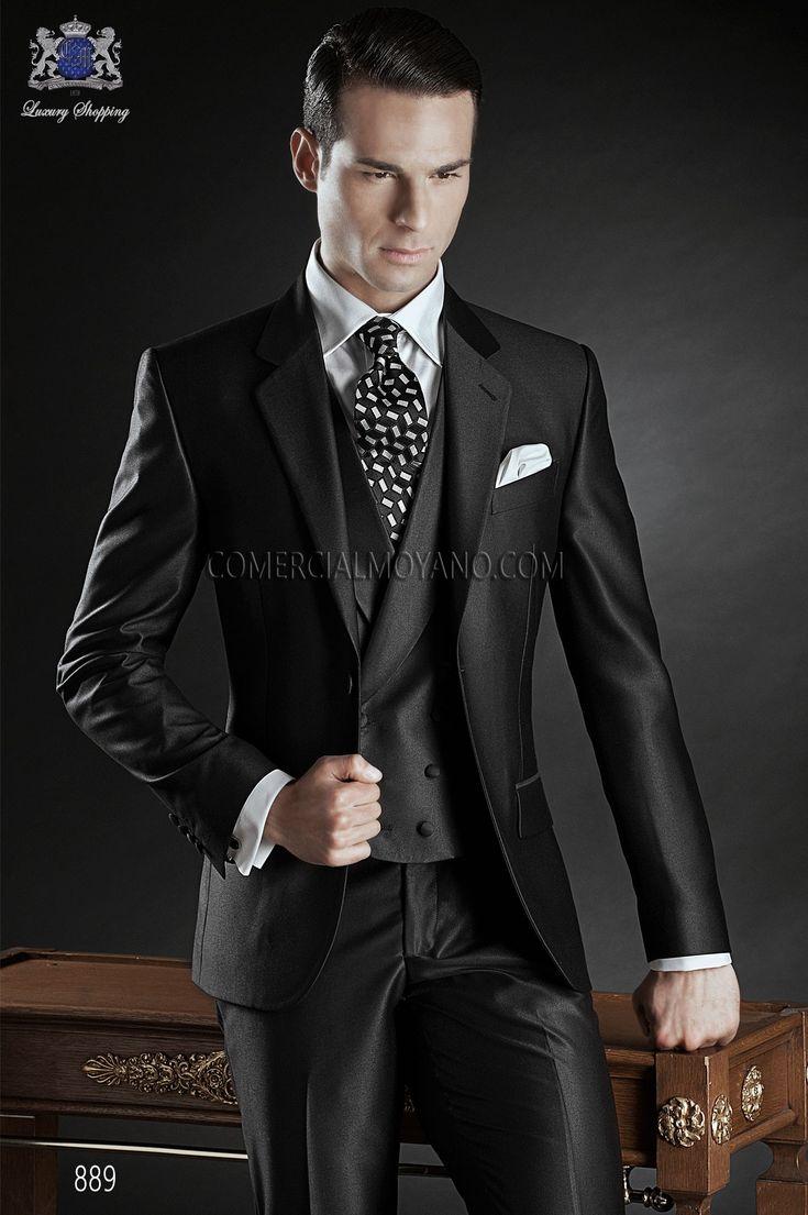 Traje de novio a medida recto 2 botones, en tejido new performance gris antracita, modelo 889 Ottavio Nuccio Gala colección Gentleman 2015.