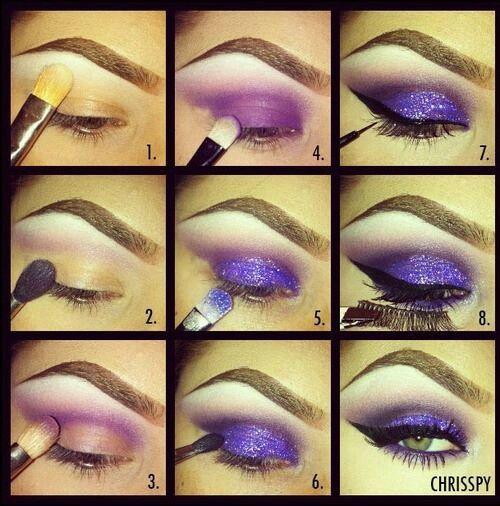 Purple smokey eye w/a glitter lid.