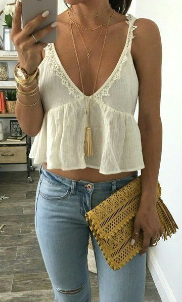 #summer #outfits White Crop Top + Bleached Ripped Skinny Jeans