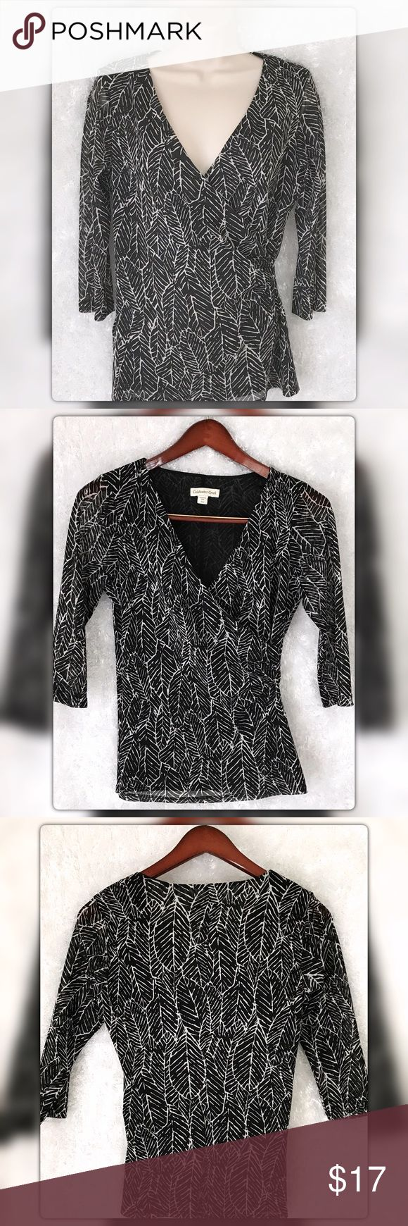 """Coldwater Creek S(8) Leaf Faux Wrap Knit Top Coldwater Creek S(8) Leaf Faux Wrap Knit Top. Polyester. Pit to pit measures 21"""" Length 25"""" Gently Used with no flaws. Thank you for checking out my listing. Stop by Flamingos Closet where something perfect is waiting for you 😍 Coldwater Creek Tops Blouses"""