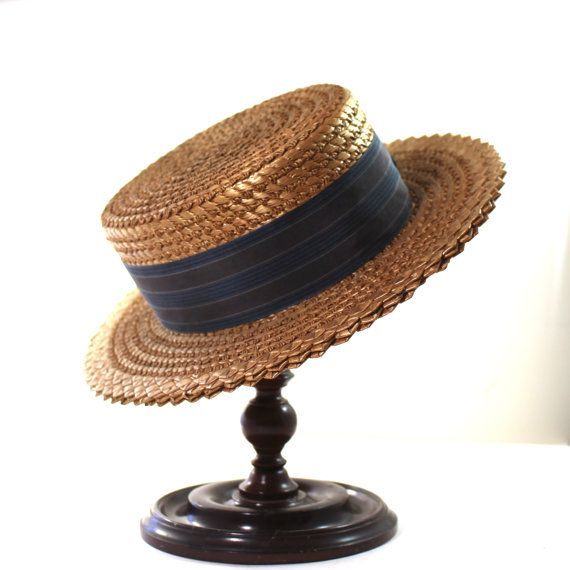 Mens Straw Boater Hat by Lamson Hubbard Co by SugarLMtnAntqs
