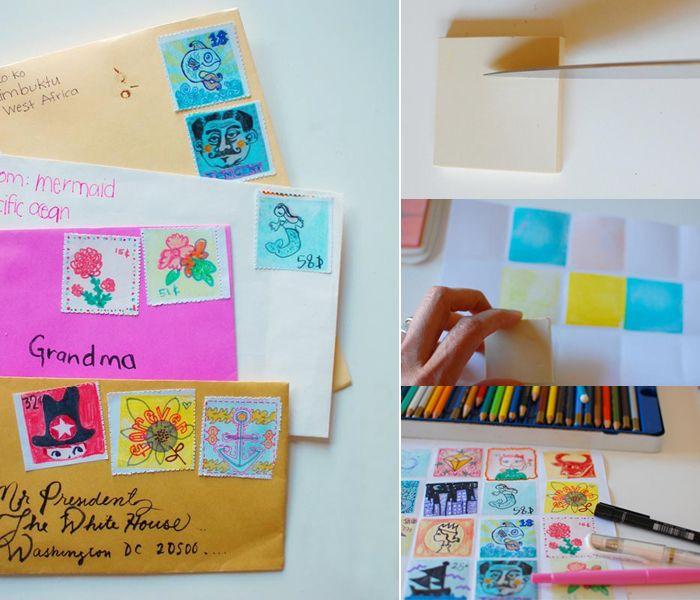 Wat is er leuker dan je eigen postzegels maken! Hier staat het project beschreven.