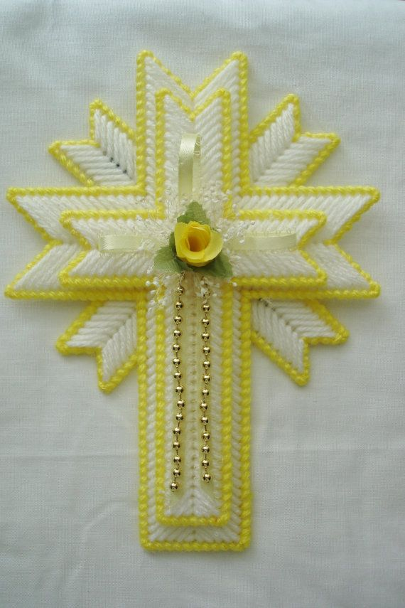 Plastic Canvas Cross Magnet | Yellow Cross Magnet made from Plastic Canvas by LesleesCrafts