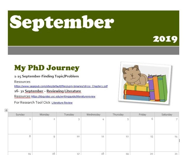 Sept Dec 2019 Academic Monthly Organizer With Links To