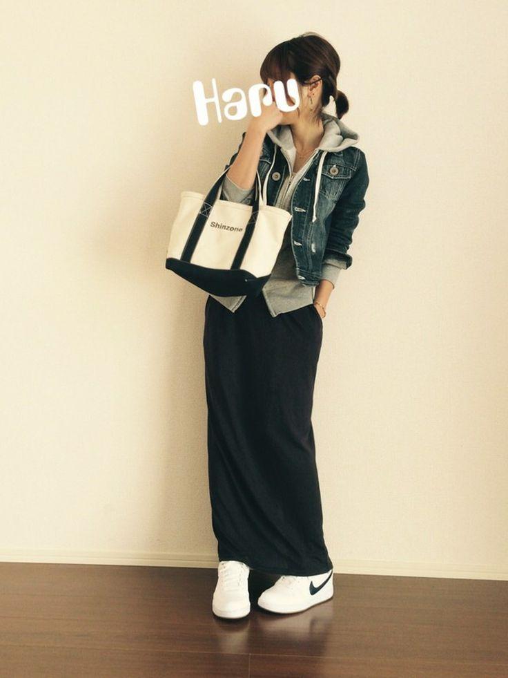 無印良品のパーカーを使ったHaru☆さんのコーディネートです。│ご近所コーデ。すっぴんでてきとーぐぐり。...
