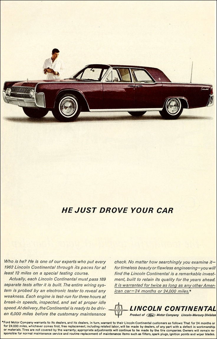 He Just Drove Your Car....1962 Lincoln Continental