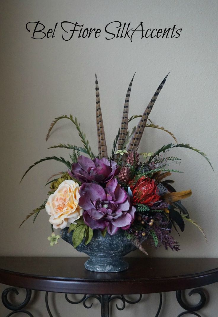 Vintage Style Urn With Mauve, Tuscan Green And Salmon Colored Garden  Roses... Silk Floral ...