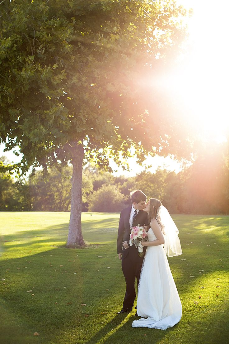 Bride and Groom Sunset Portrait Wedding