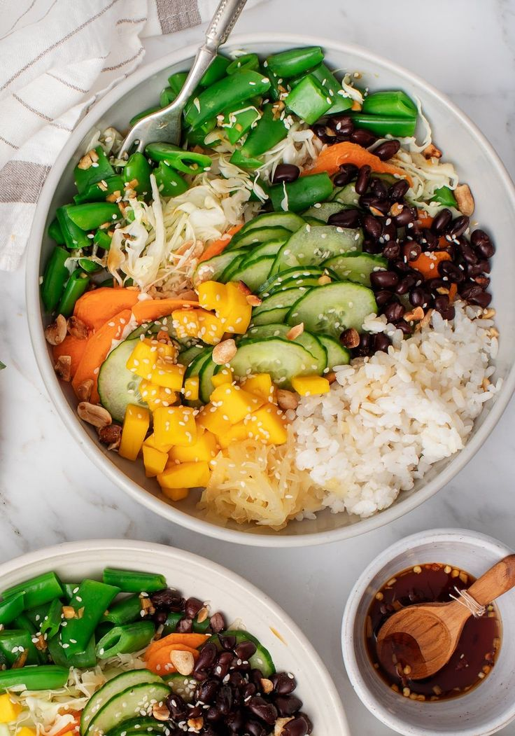 Mango Black Bean Ginger Rice Bowls