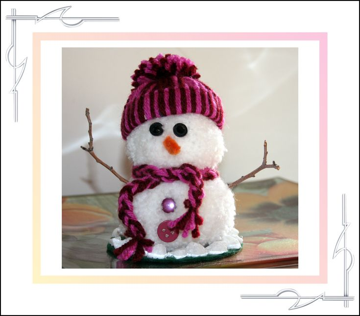 Sculptured Yarn (pompom) snowman. Available for purchase at thatissocool.ca