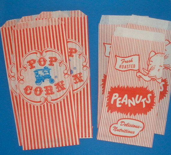 Popcorn Bags and Peanut Bags, 20 ct  Your choice Mix or Match Carnival Circus Parties Ballgame