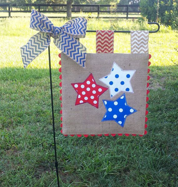 Burlap Garden Flag – 4th of July – Red – White – Blue – Stars – Embroidery Applique – Single sided
