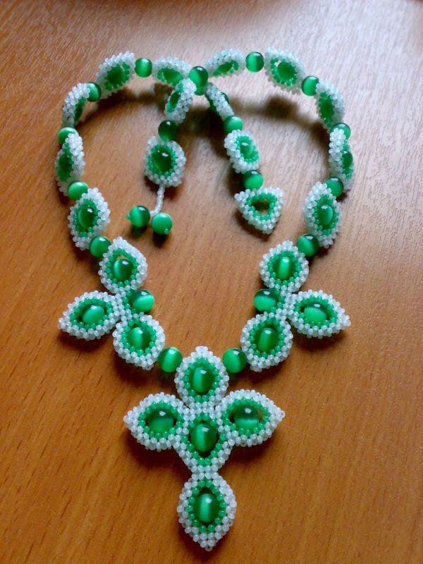 """Колье и кулон """"Зеленые листья""""   biser.info - всё о бисере и бисерном творчестве"""