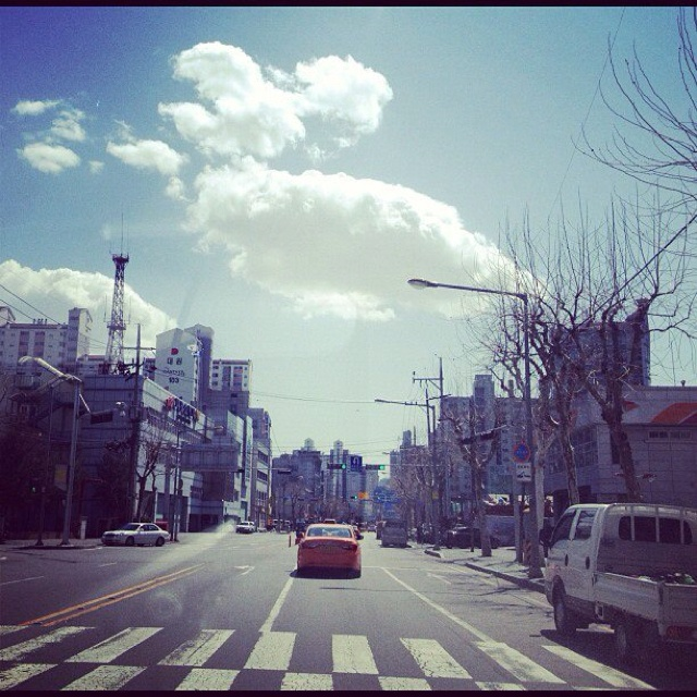Moving in the car, I catch beautiful landscape of city.