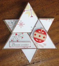 Voici une carte en forme d'étoile, trouvée sur un site étranger, et adaptée à ma façon. Commencer par dessiner un triangle de 21cm de...