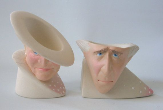 Artisan Porcelain Egg Cup Pair Mature Old Man Woman Heads Bust Signed Fog