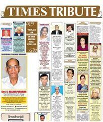 Times of India Obituary Ad Rates.