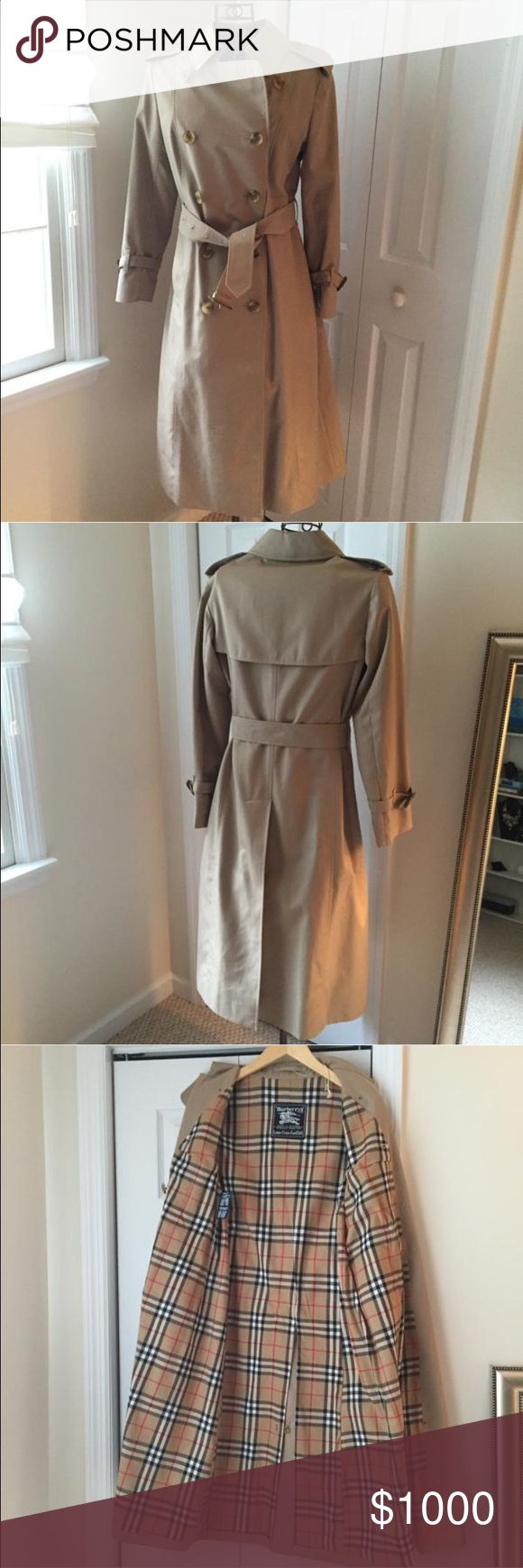 AUTH Burberry Trench Coat Vintage double breasted, tan/beige color, Burberry Trench Coat Size 6 small. Was recently dry cleaned, kept in the bag and looks like new. Has brown leather belt buckle at sleeves and mid waist. The leather buckle have some wear. Has the original checkers Burberry lining interior for  extra warmth. Lining not removable. Burberry Jackets & Coats Trench Coats