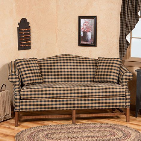 Camelback Sofa In Buffalo Check Fabric Primitive