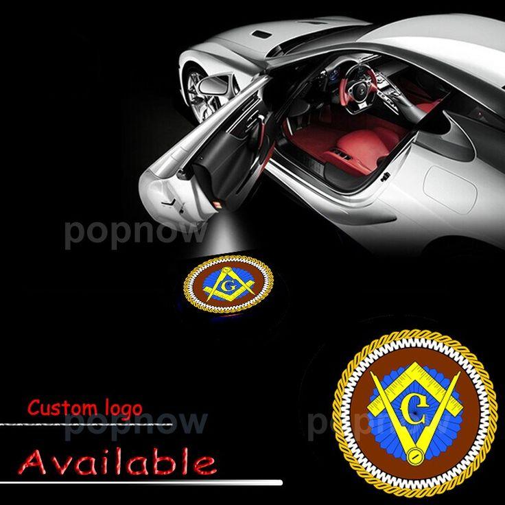 2x 12V Car Door LED Laser Projector Shadow Lamp Masonic Freemason Mason Square and Compass Logo Door Light Car Styling #1523