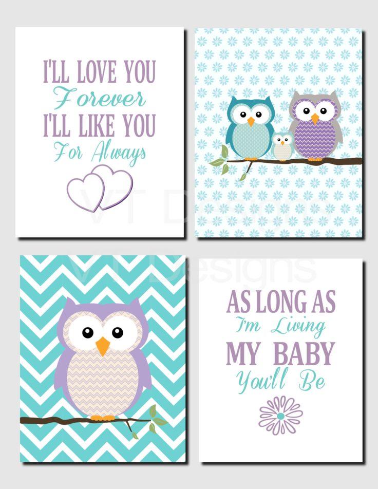Purple Teal Wall Art, Owl Theme, Baby Girl Nursery Decor, Owl Family Wall Art, Toddler Girl, I'll Love You Forever, Printable,Set of 4 by VTDesignsPrintables on Etsy