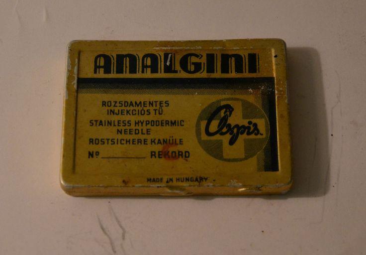 Analgini Vintage tin for hypodermic needle Hungarian Soviet period