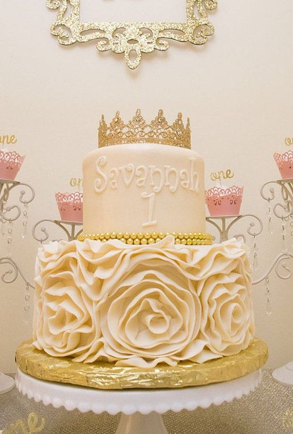 Gold Lace Crown Cake Topper by FeatherRiverBoutique on Etsy