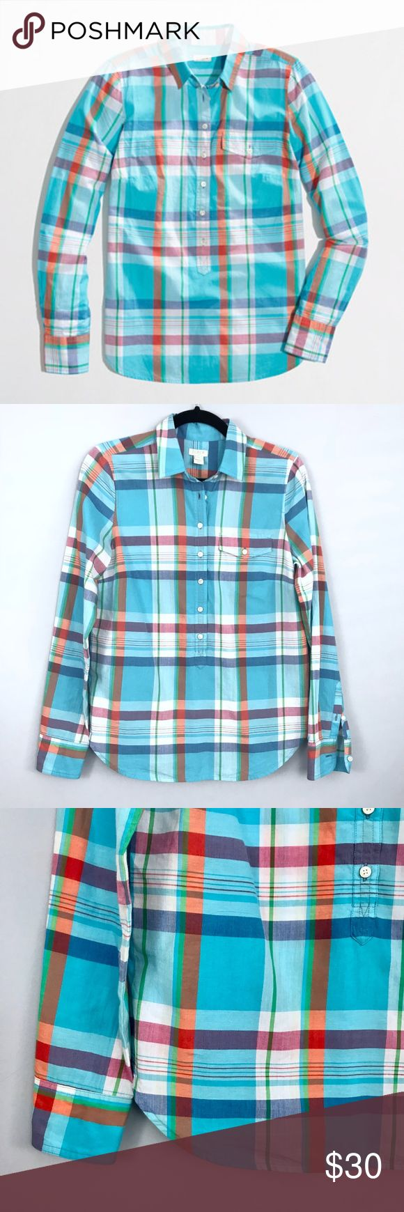 J. Crew Factory Plaid Popover Shirt - XSmall