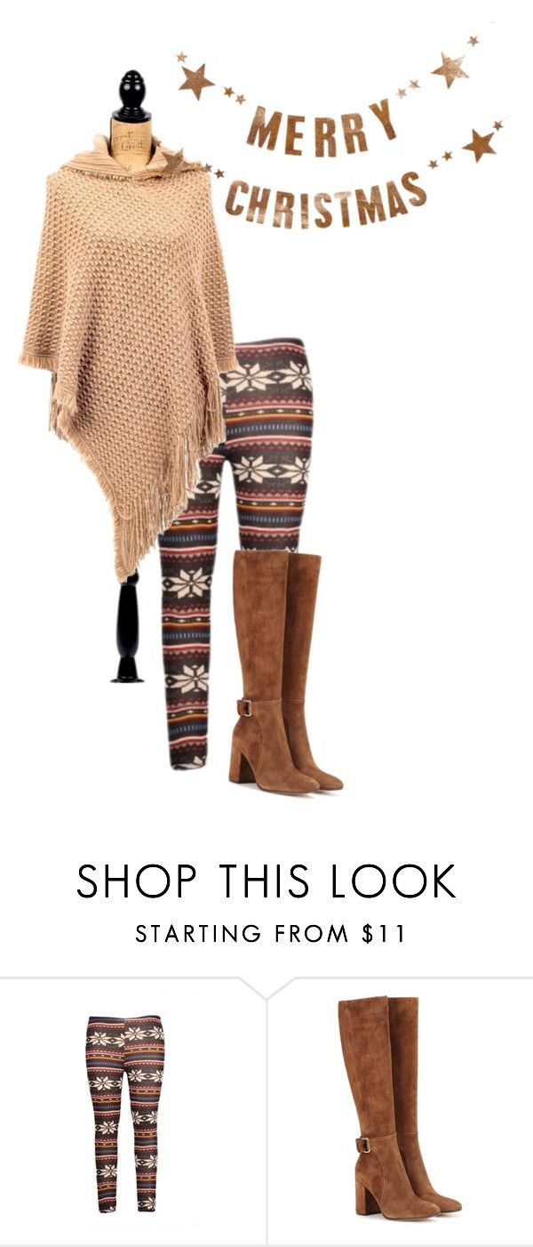 """Brown snowflake leggings"" by christina-victorovich ❤ liked on Polyvore featuring Gianvito Rossi and Bloomingville"