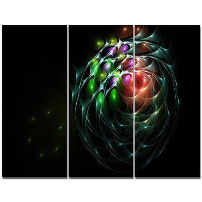 DesignArt 'Green 3D Surreal Fractal Design' Graphic Art Print Multi-Piece Image on Canvas