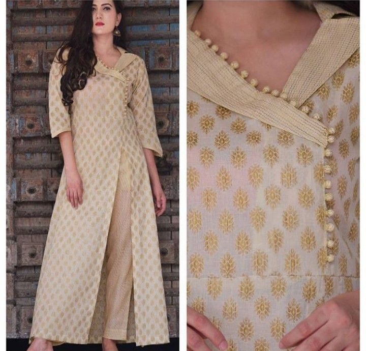 Beautiful Brocade Silk Kurti With Potli And Shawl Collar Detailing Silk Kurti Designs Kurta Designs Women Designer Kurti Patterns