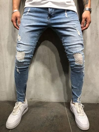 b8150b45 New Men Slim fit Knee Holes hip hop skinny jeans fashion Side white stripe  Distressed Ripped Stretch Streetwear Denim trousers