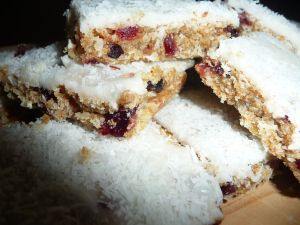 cranberry coconut and lemon weetbix slice
