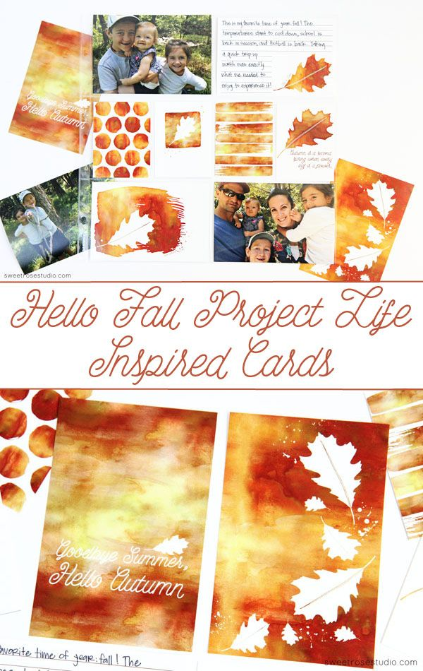 Free Hello Fall Project Life Inspired Cards from Sweet Rose Studio