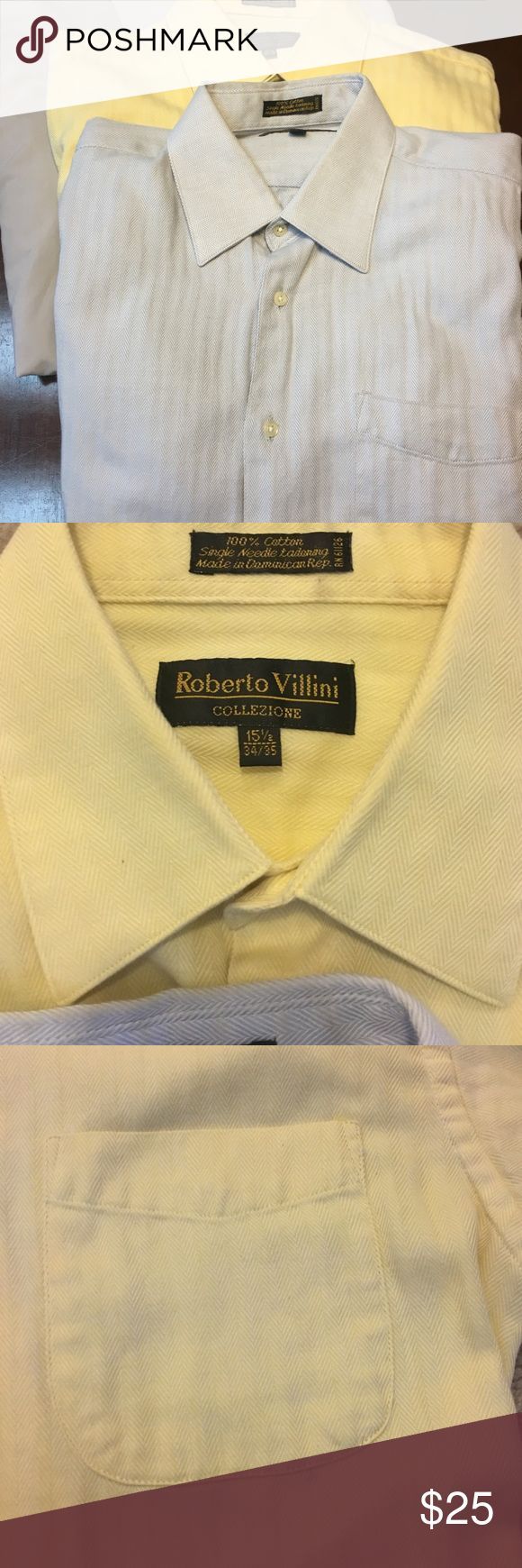 Lot of 3 💯 % Cotton Herringbone button down shirt 2 well made single needle 100% Cotton herringbone shirts one yellow and one blue featuring french cuff design. (cuff links not included) Third shirt is light gray poly/cotton blend. All size 15 1/2 roberto villini Shirts Dress Shirts