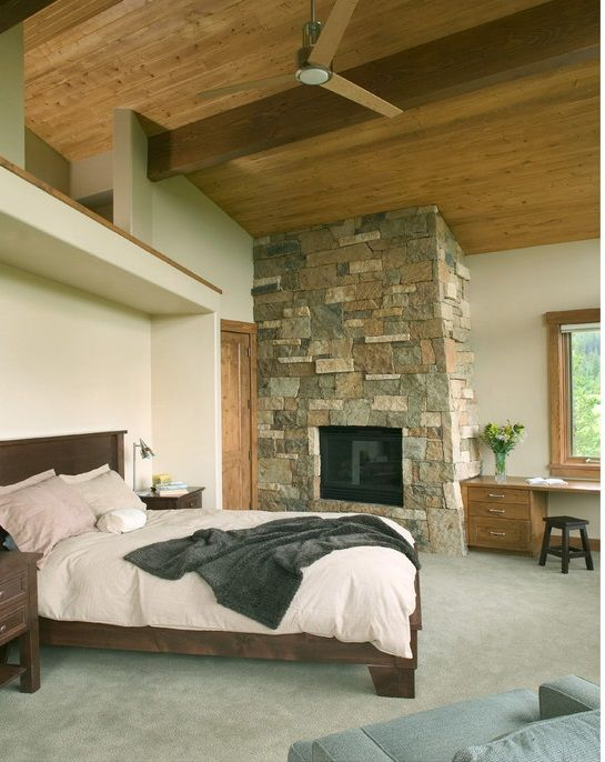 Modern Master Bedroom With Fireplace
