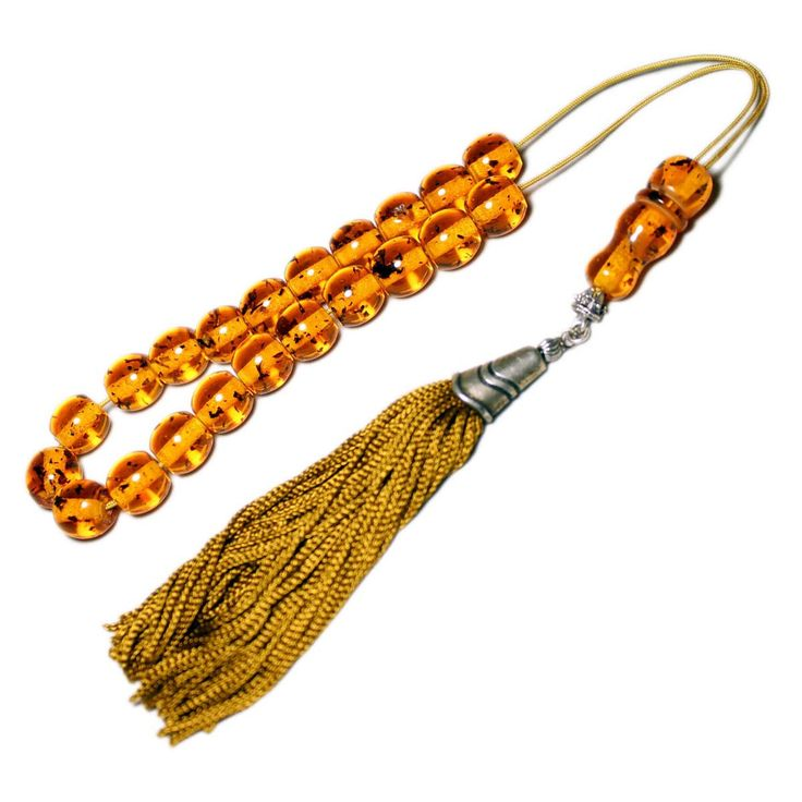 Worry Beads, Greek Komboloi, Champagne Baltic Amber color, Ball shape beads, Tasbih, Olive/gold color Handmade Tassel, Relaxation