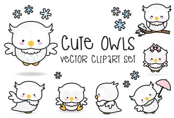 Premium Vector Clipart - Kawaii buhos - buhos lindos Set de imágenes prediseñadas - vectores de alta calidad - descarga inmediata - imágenes prediseñadas Kawaii
