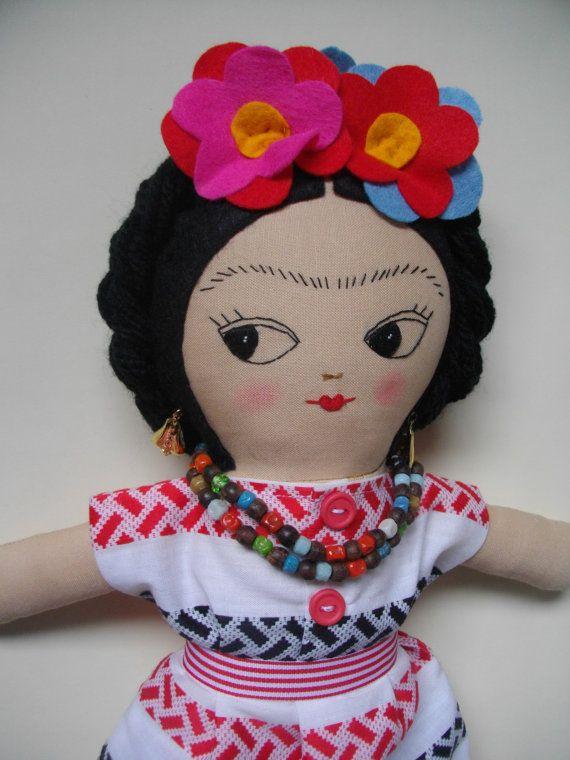 FRIDA KAHLO Art Doll Handmade plush toy original Rag doll cloth doll plushie