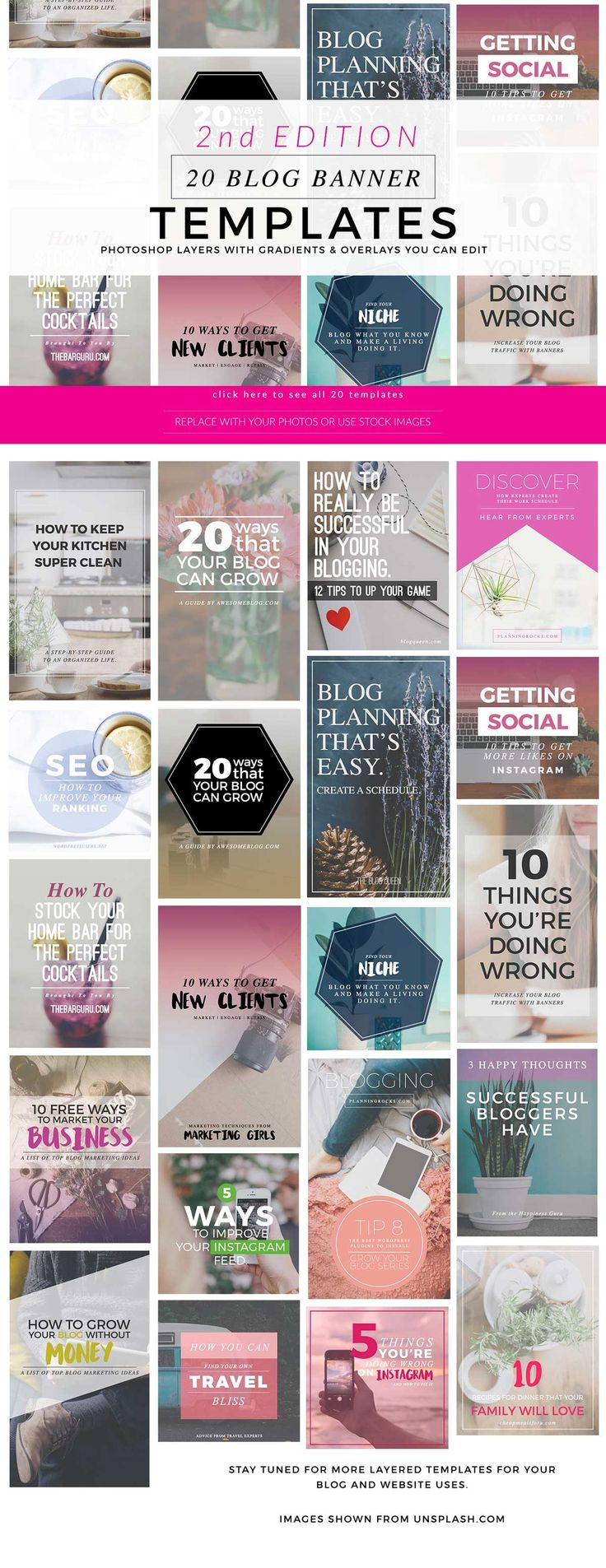 2nd Edition Blogging and Pinterest or Instagram Banner Templates UPDATED SIZE! 1000 pixels wide! Looking to make your websites and blogs more professional looking with attractive graphics