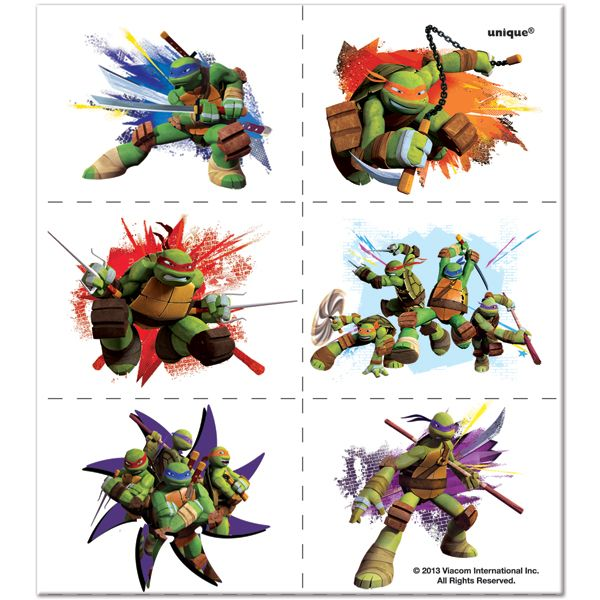 Teenage Mutant Ninja Turtles Temporary Tattoos.  A perfect party favor!